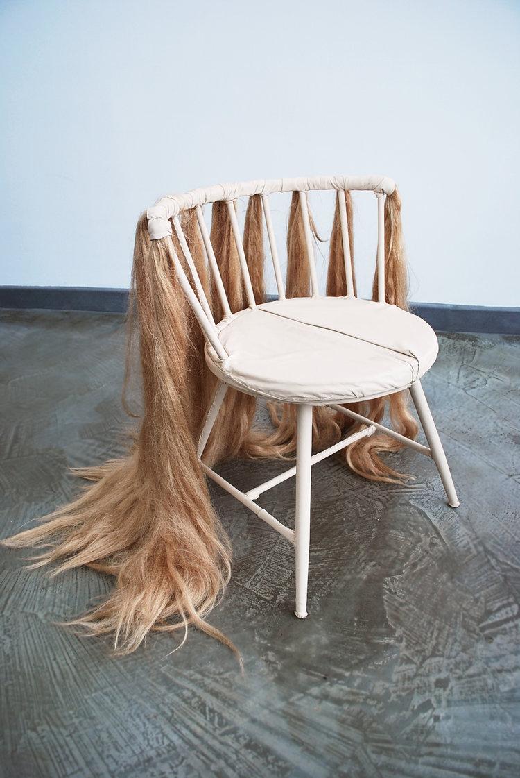 Sad Chair, 2016, Aluminum frame, leather, synthetic hair