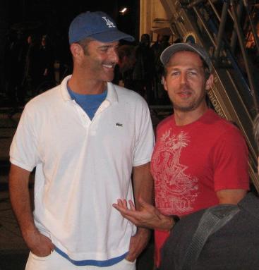 Mitchell on set with PRIEST screenwriter, Cory Goodman.