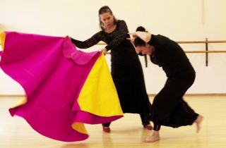 """""""Once I really experienced the connection between the two art forms of flamenco and bullfighting, I could make better artistic choices. I love bringing the bull into my dance for drama, for more authentic style, and for the expressive possibilities.""""    – Adair Landborn –"""
