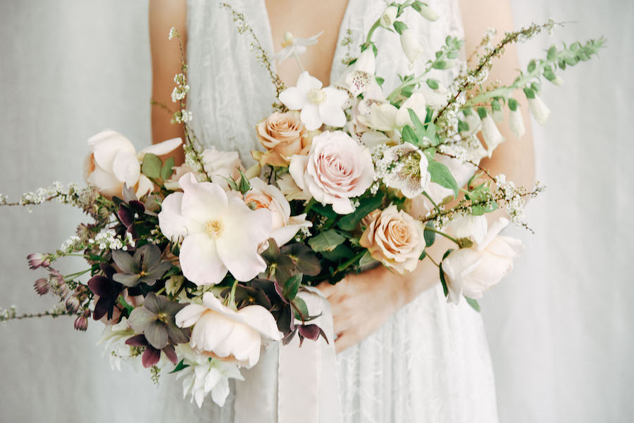 A simple, light palette takes on modern simplicity in this natural bridal inspiration featuring Soil & Stem, Alexandra Grecco, Frou Frou Chic and Tess Comrie - now on Cottage Hill