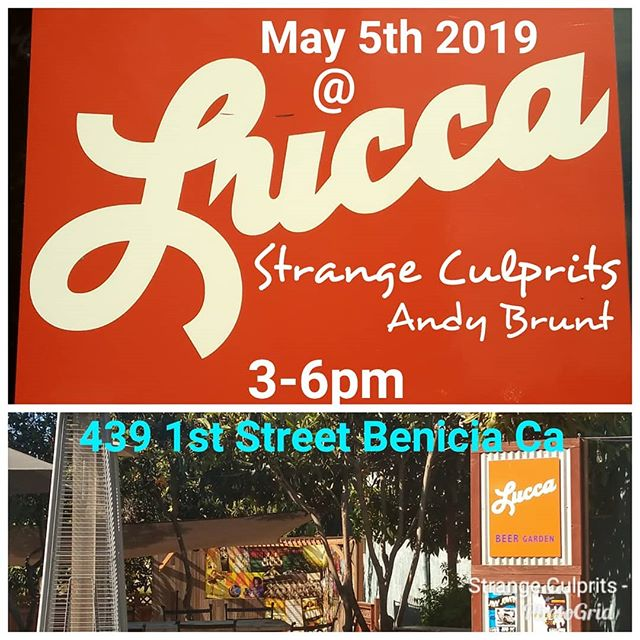 Hey Brothers and Sisters! We are taking the stage at Lucca Bar & Grill in Benicia. Andy Brunt to start off the show at 3pm. Come out to have some great food and drinks and listen to live music. Hope to see you there!
