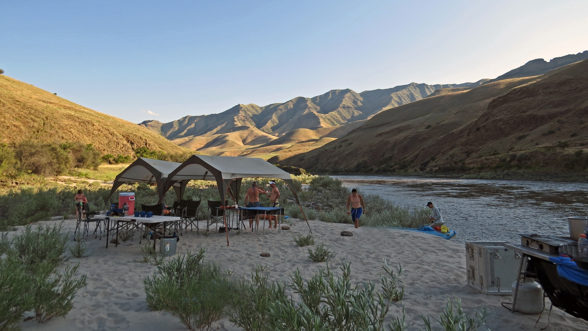 Tents in camp on Salmon River whitewater river trip.