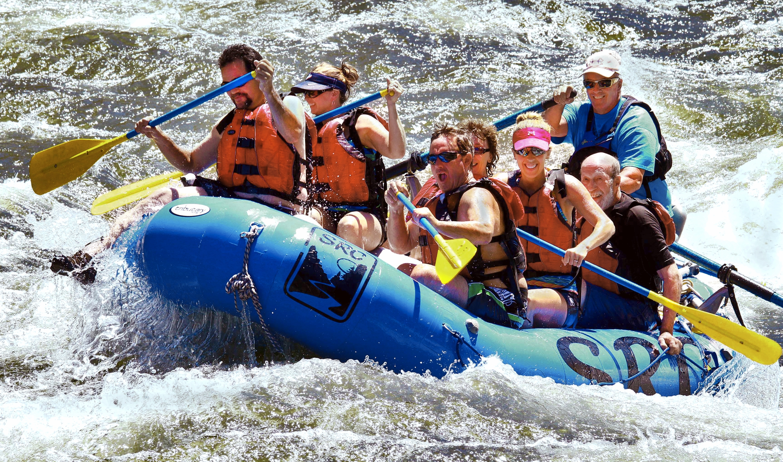Whitewater rafting at Timezone Rapid on the Salmon River near Riggins Idaho.