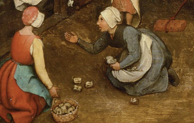"""The women tossing astragali in Breughel's """"Children Games"""""""