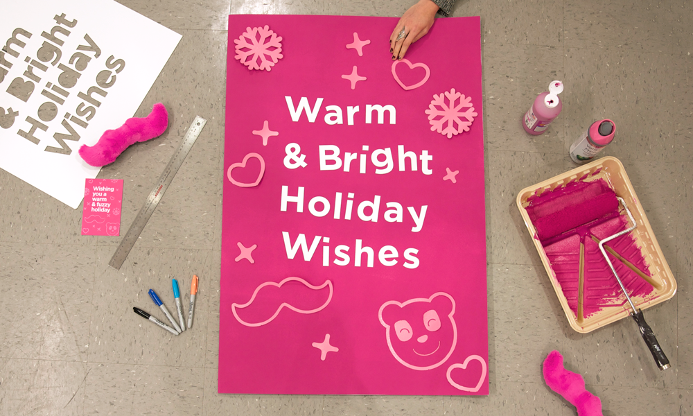 At HQ, we got crafty and made agiant, Addie-sized card to send!