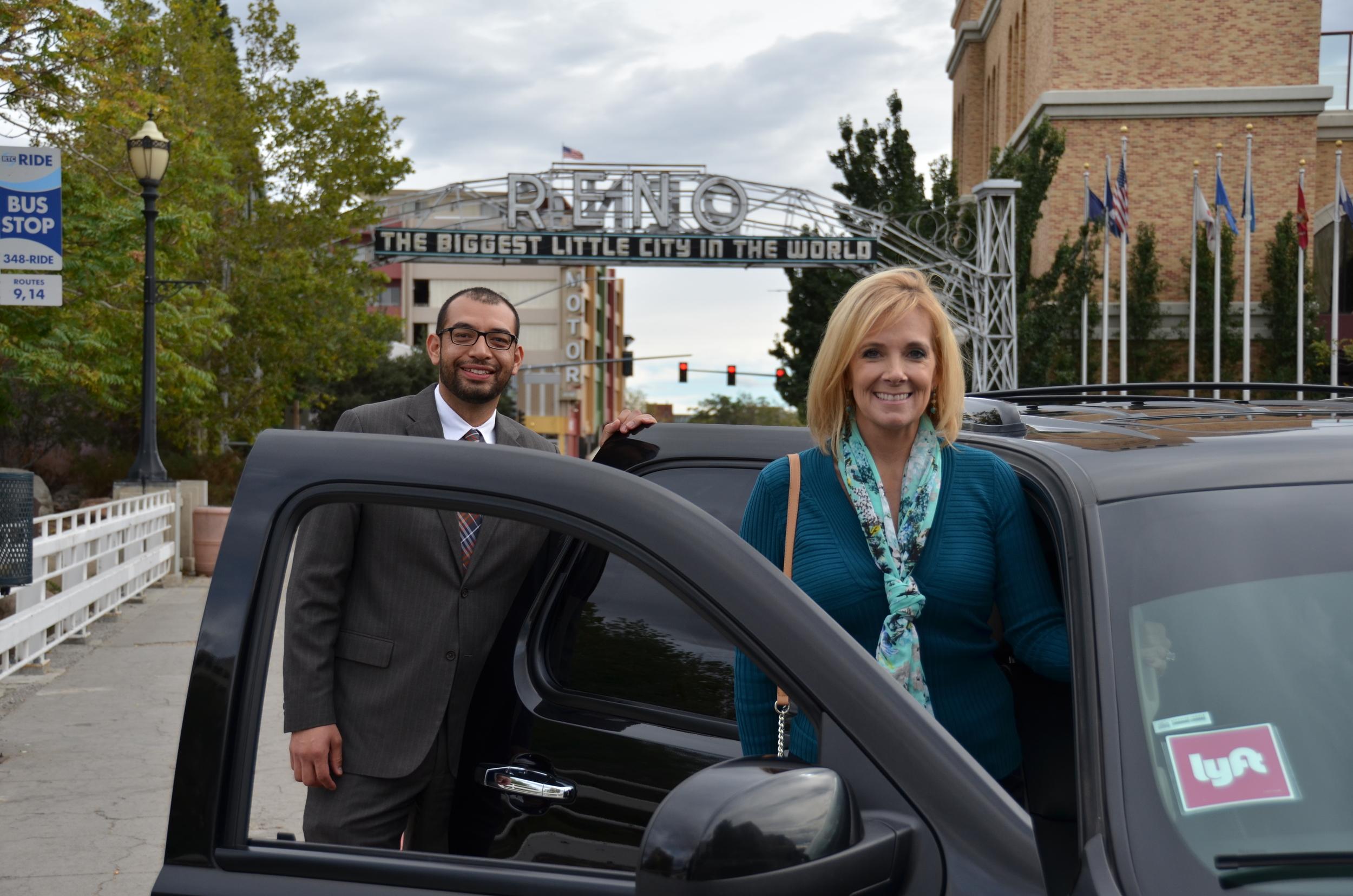 Council-members  Oscar Delgado and Neoma Jardon take Reno's first Lyft ride!