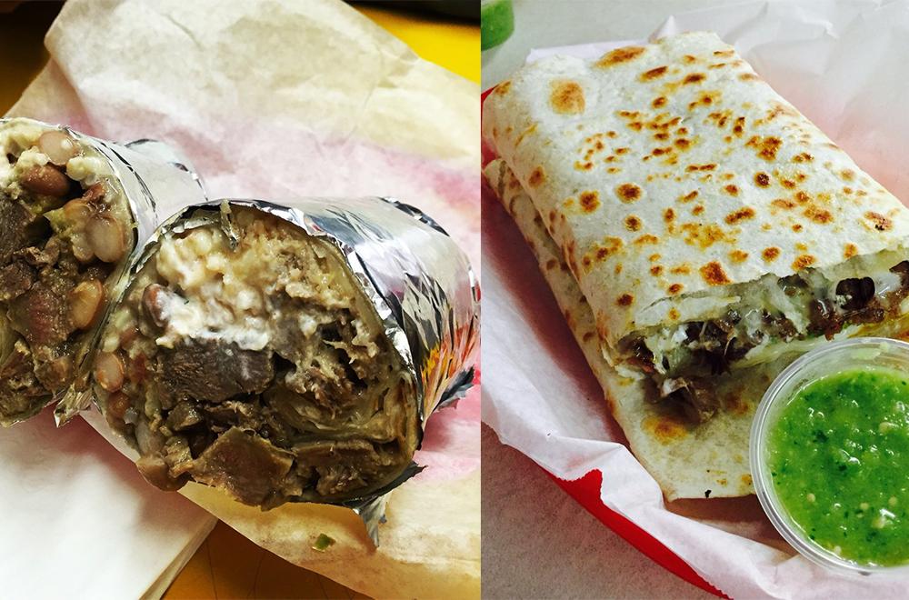 Left to right: Leguna super burrito, Carne asada quesadilla; Photo Credit: Matthew L.,Jonelle T.