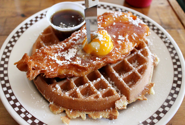 Cornflake Chicken and Waffle at Queens Comfort