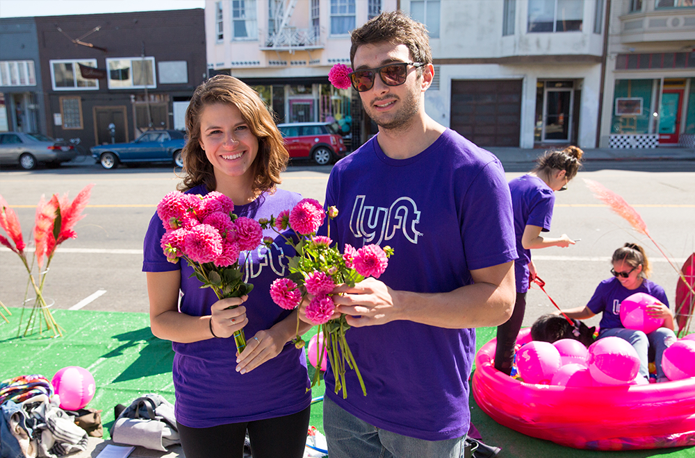 Our team also handed out these appropriately colored flowers to residents who walked by.