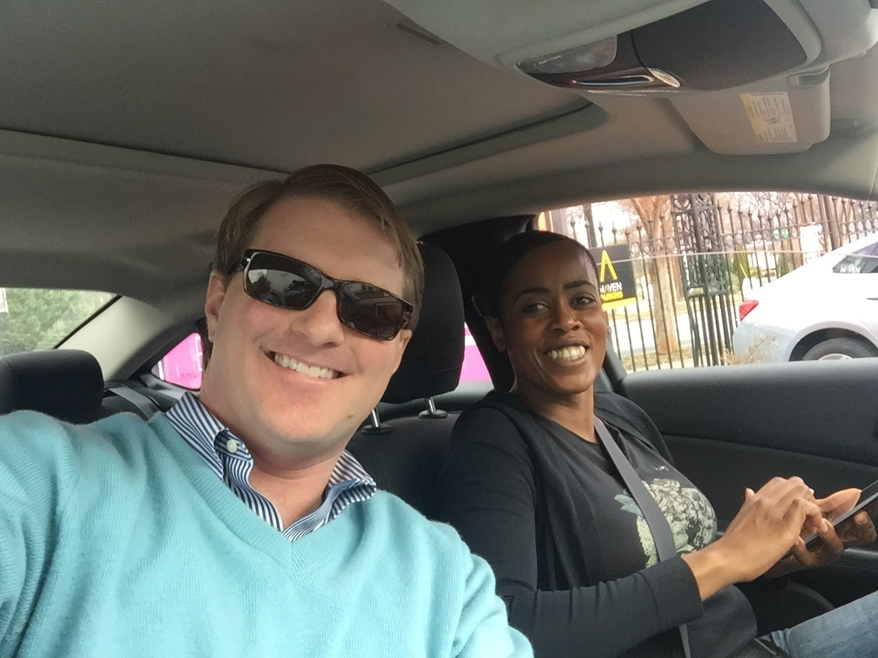 GM Sam with driver Bethany on his morning commute