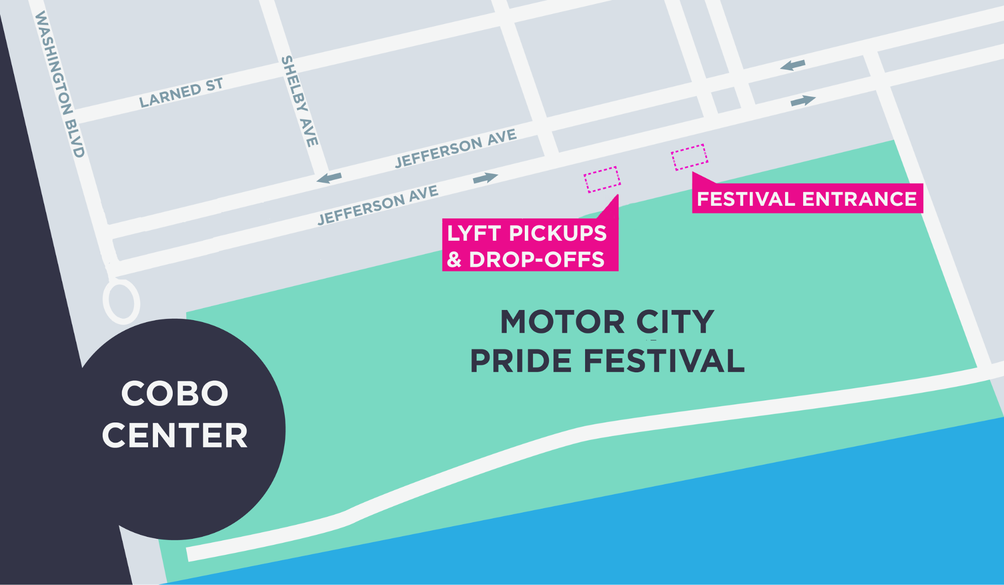 Trips to and from the event are subject to an $1.00 event fee at all times during the  Motor City Pride Festivities  (6/10/11-6/11/17). This fee shall start applying on 6/10/2017 and may be subject to change. For more information on other fees included on your Lyft ride, check out your city's pricing details at lyft.com/cities or at lyft.com/terms  Limited quantity available, while supplies last. Each code applies 20% off a ride, up to $5, to or from the Motor City Pride Festival between 6/10/17-6/11/17. One code redemption allowed per passenger. Discount applies to the fare and Prime Time charges only, not to Trust & Service fee, tips, tolls, taxes, or other fees and charges. Minimum fares apply. No cash value and cannot be combined with other ride credit or offers. Subject to  Lyft's Terms of Service .