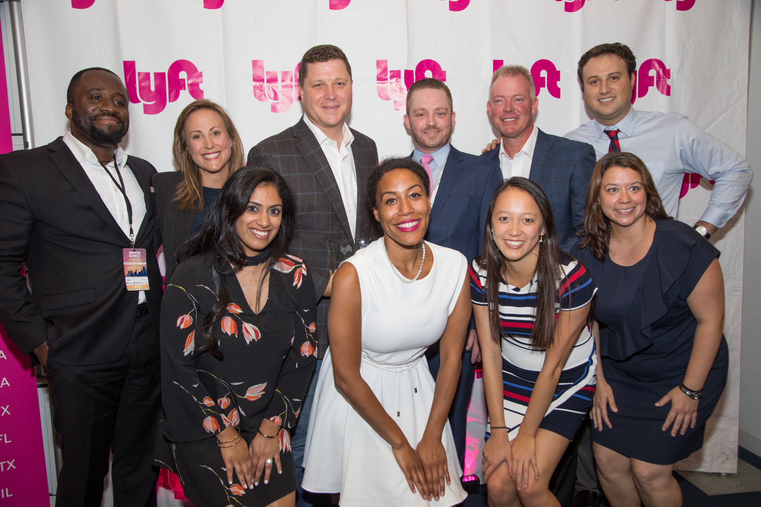 Senator Jeff Brandes of Florida, Representative Mark Cusack of Massachusetts, and Representative Brandon Phelps of Illinois with the Lyft team at the National Conference of State Legislatures in Boston.