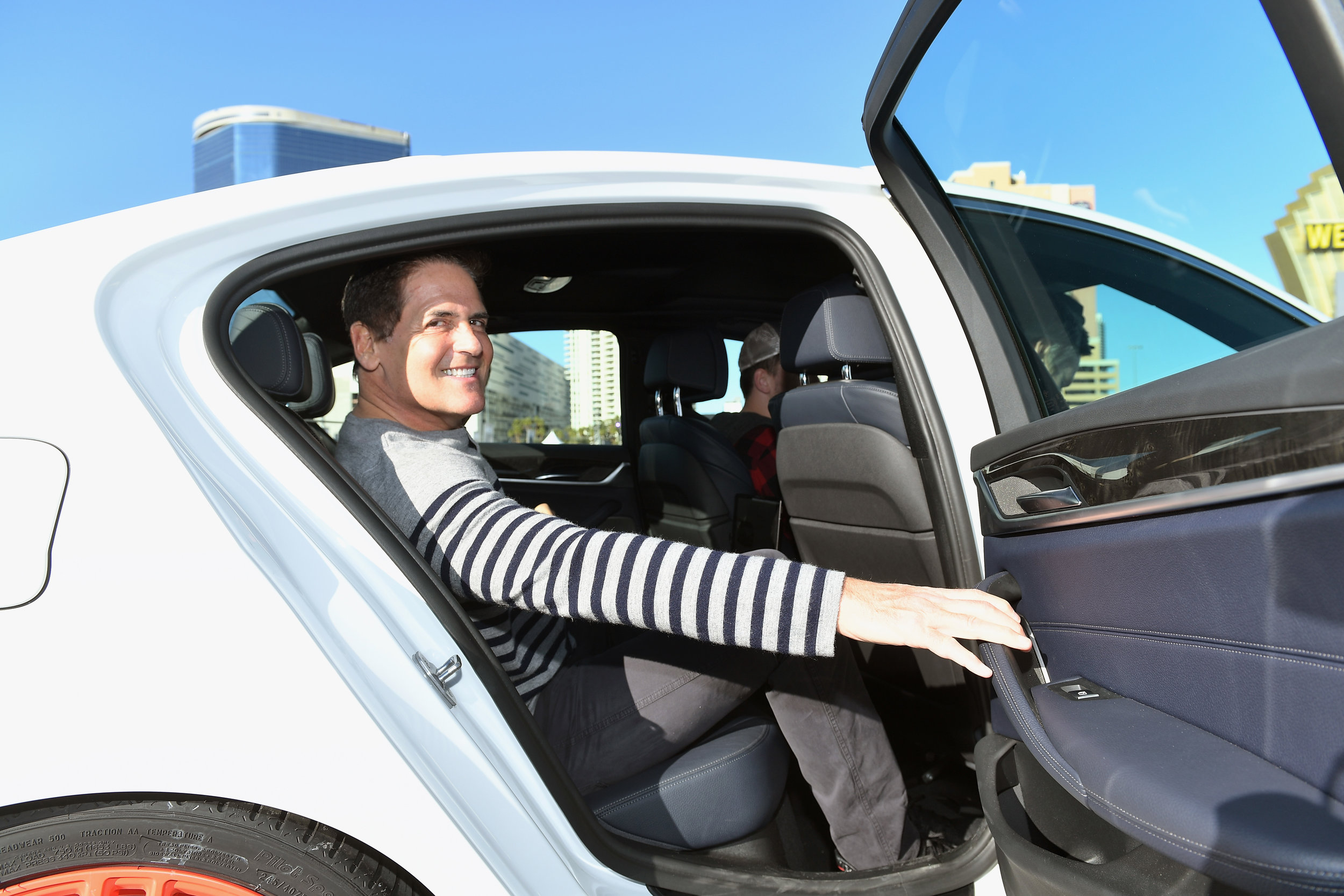 Businessman Mark Cuban takes a self-driving ride for a spin at CES.