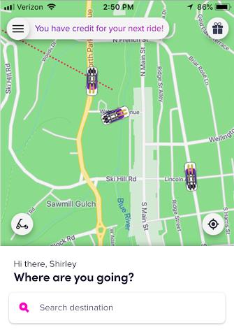 In the Lyft app, enter your destination.