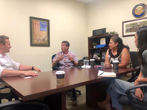 Lyft drivers Reina Clouthier and Sean Murphy met with Assemblymember Tim Grayson's District Director, Mike Sponsler, on 8/30 in Concord.