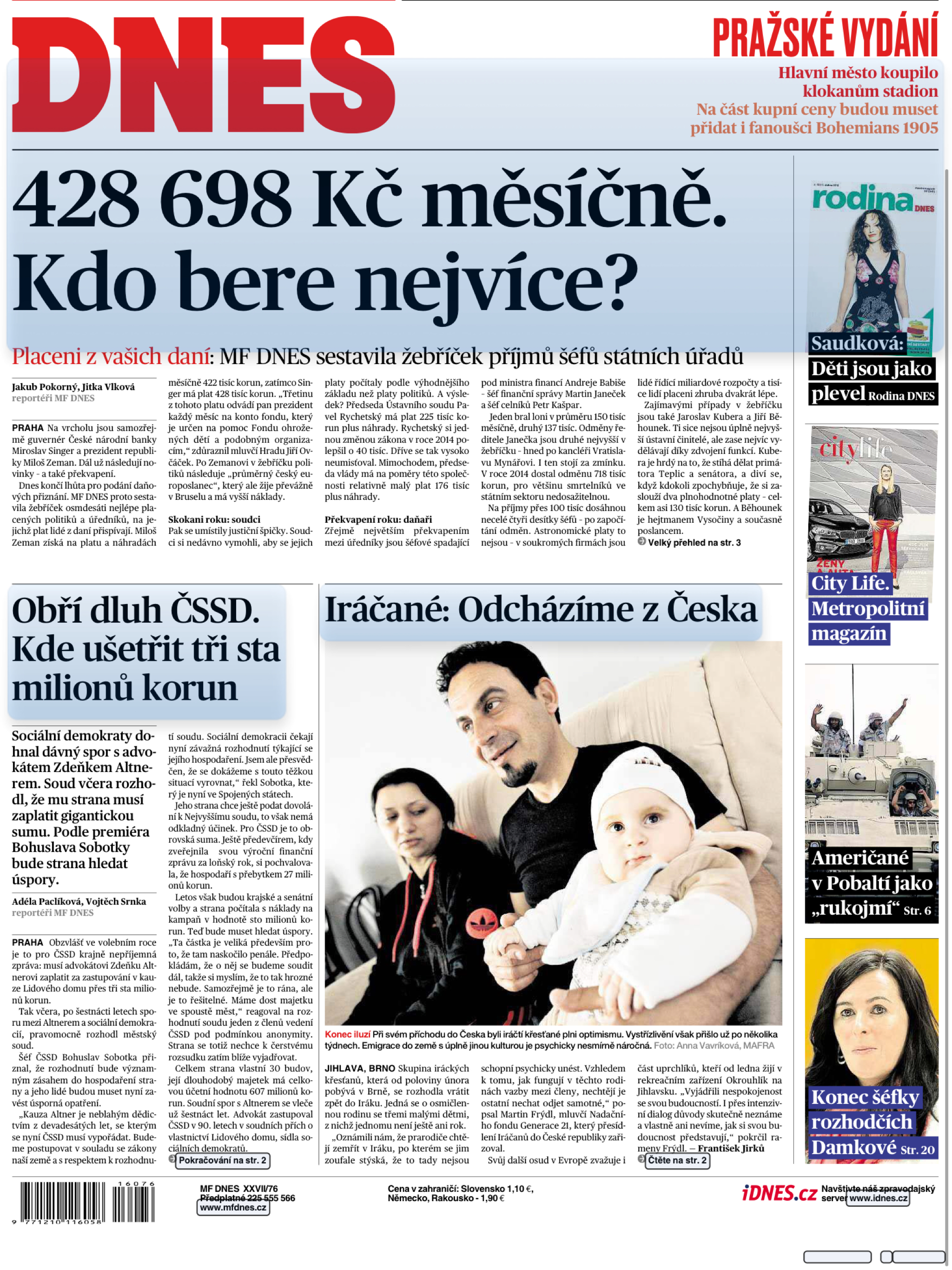 Dnes Czech Republic | Hollywood, Rise Televize | Front Page