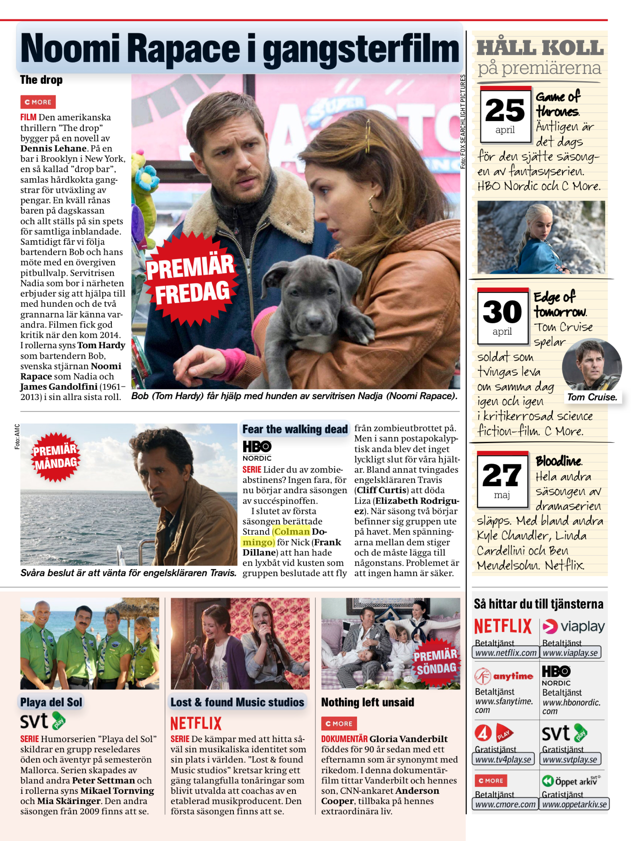 TV Aftonbladet Sweden | Monday TV Pick- Fear The Walking Dead