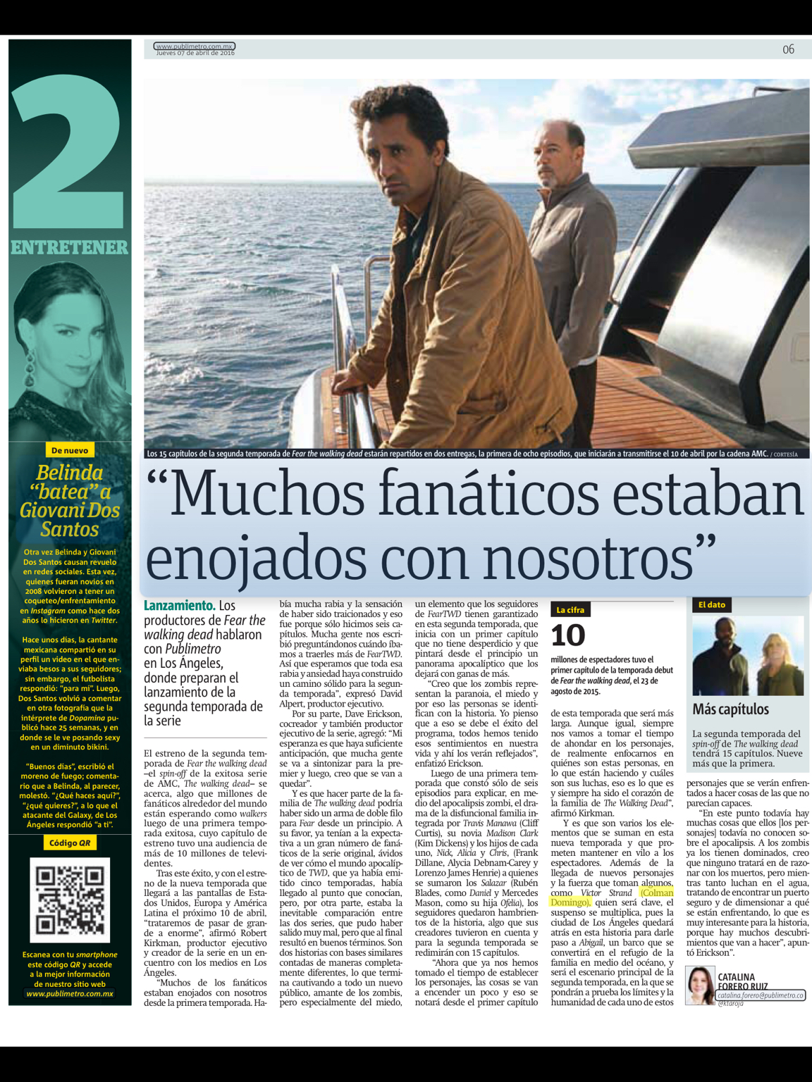 Publimetro MX | La Segunda Temporada de Fear The Walking Dead | Pagina Actual