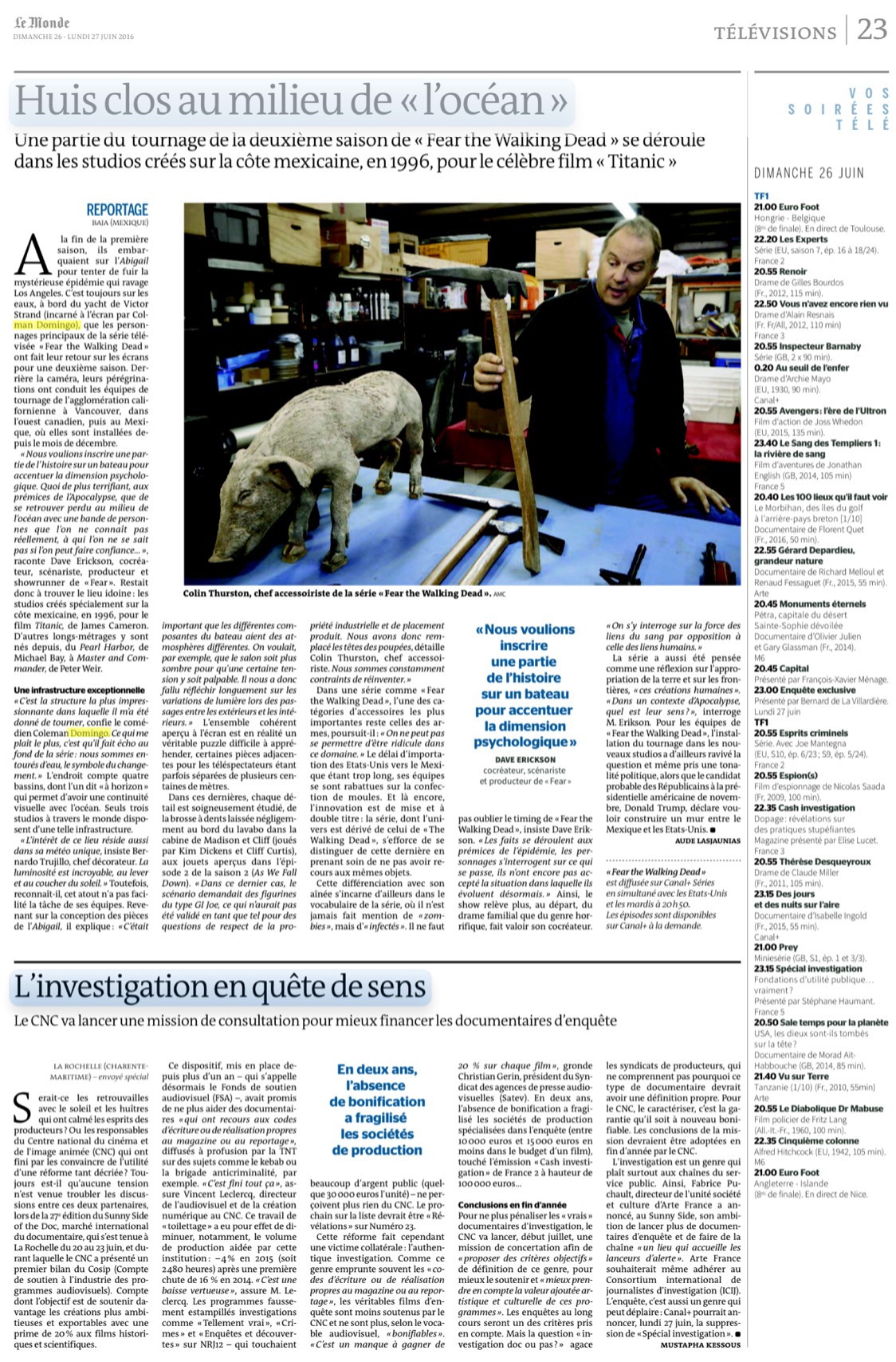 Le Monde Feature Page | Fear The Walking Dead- Camera In The Middle Of The Ocean
