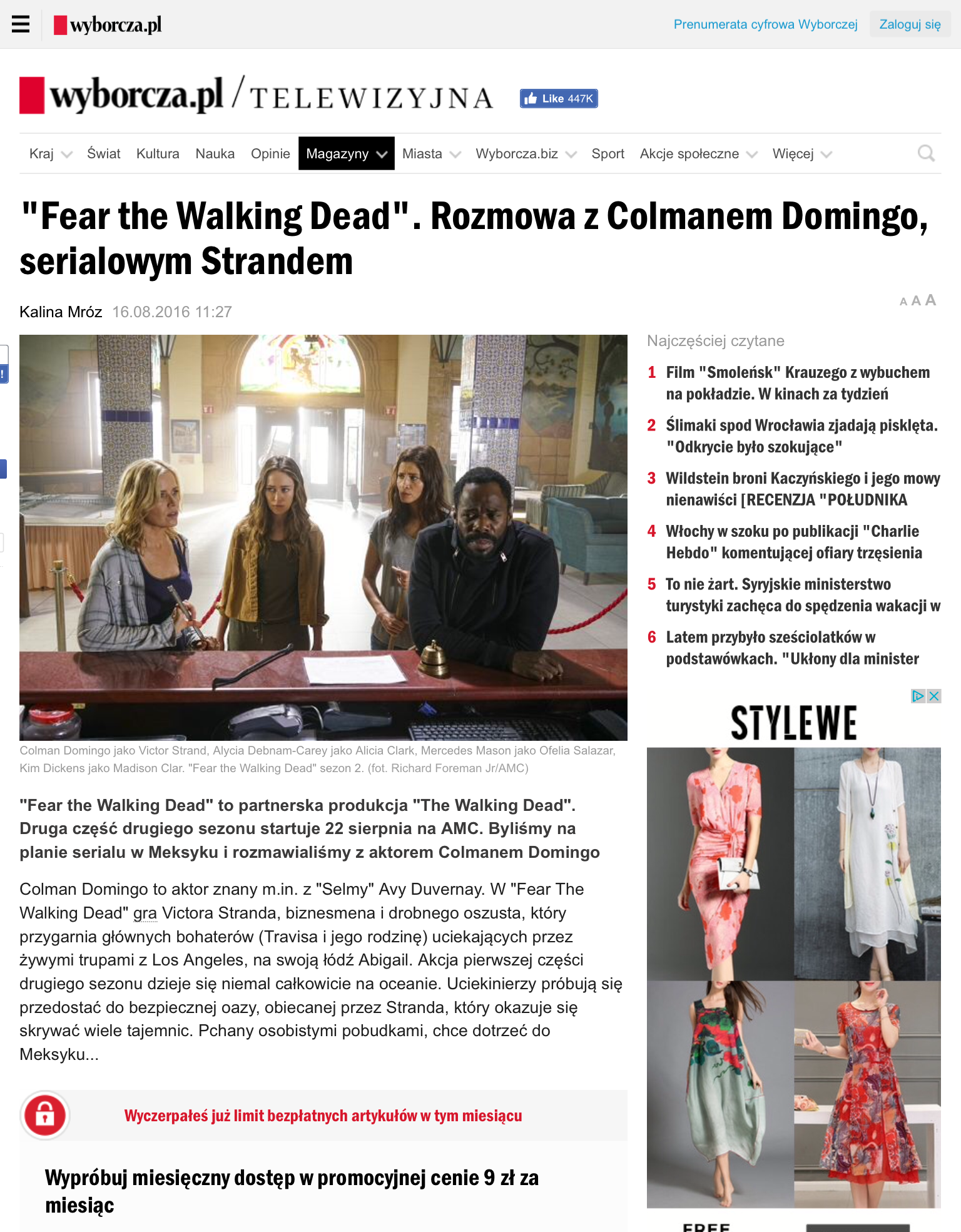Wyborcza Poland Colman Domingo Interview (Click on images for source)