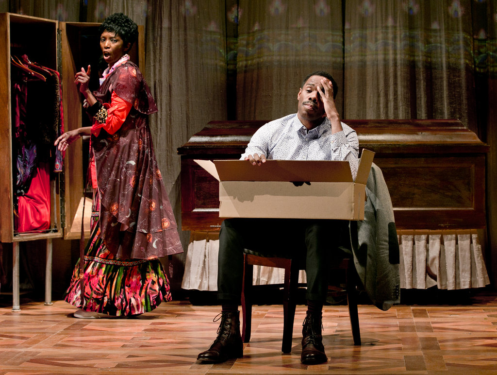 (L-R) Sharon Washington as Aunt Glo and Colman Domingo as Gil in the Public Theater's production of  WILD WITH HAPPY