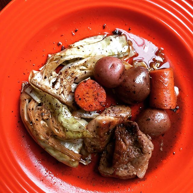 Braised Pork and Cabbage with Candy Cap Mushrooms 1 cup mead  1/2ounce dried candy cap mushrooms (reserve a few caps for seasoning later) 1 tsp pickling spices  Combine and simmer for 10 mins.  Steep 10 mins and then strain.  1 cabbage small cut into wedges 4 carrots cut into large rounds 2lbs petite red potatoes  3lbs cubed pork salt  Place on baking sheet.  Pour strained mead over meat and vegetables.  Season with salt to taste.  Place in oven pre-heated to 350 degrees for 1 hr.  Using a mortar and pestle, grind reserved mushroom caps to a fine powder.  Sprinkle powder over the dish to finish.  #mushroomforaging #bayareaeats #santacruzmountains #bayareafoodie #foragedfood #candycap #bayareamushrooms