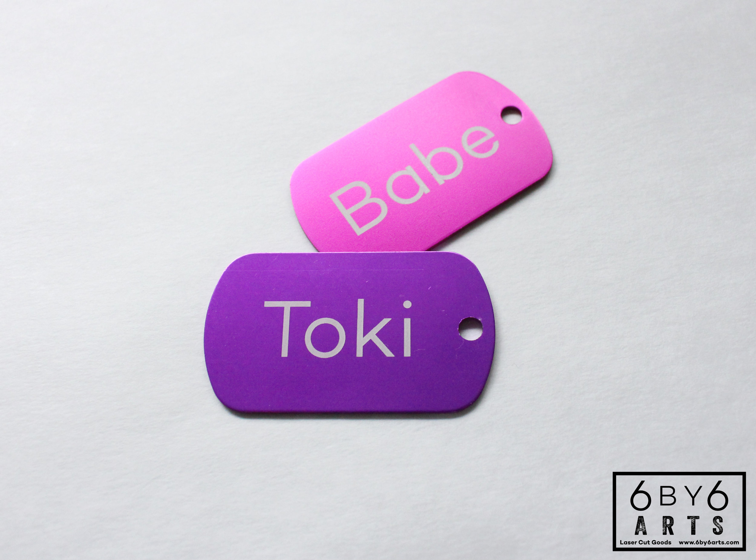 Customized pet ID tags.