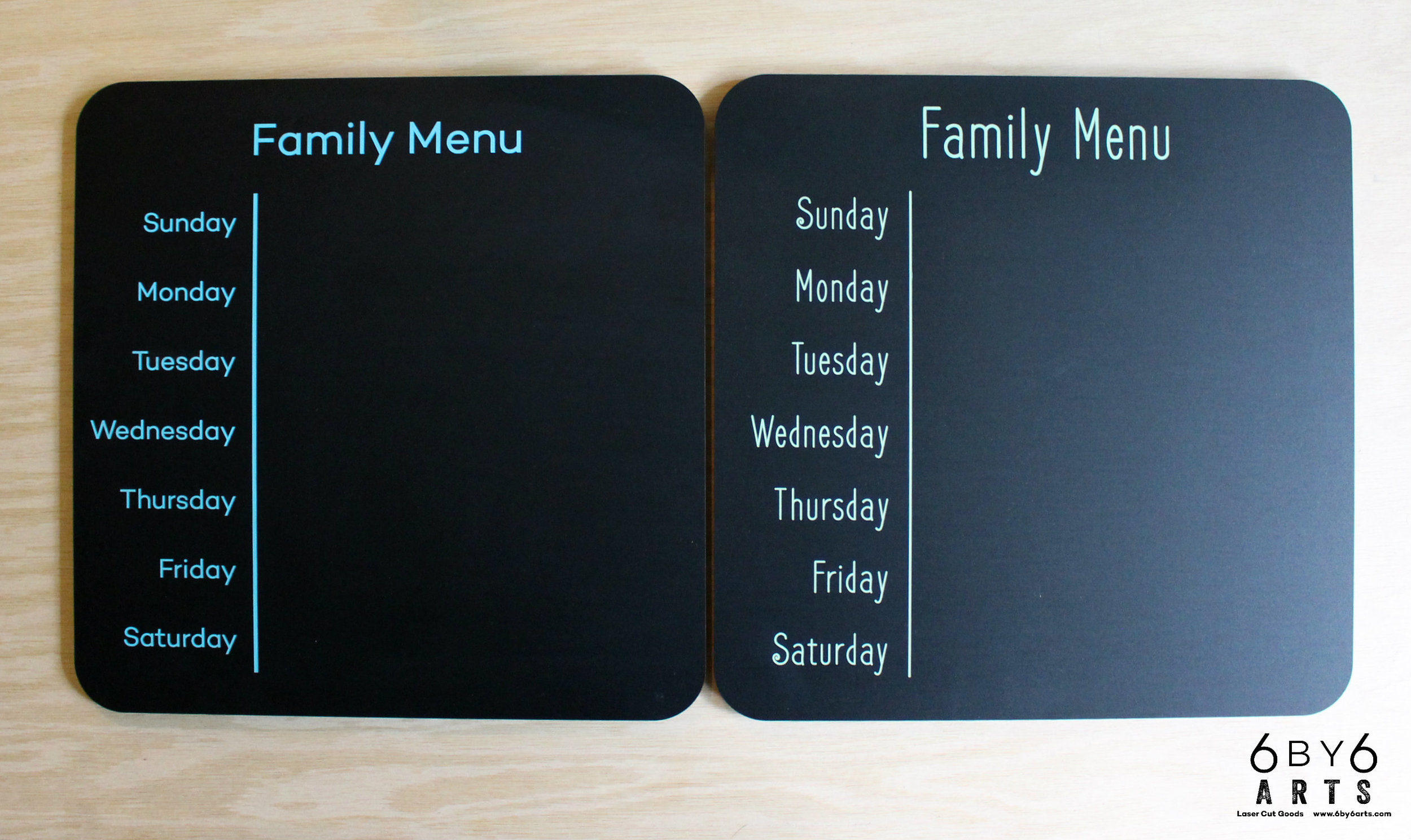 Family Menu Chalkboards - 6 by 6 Arts