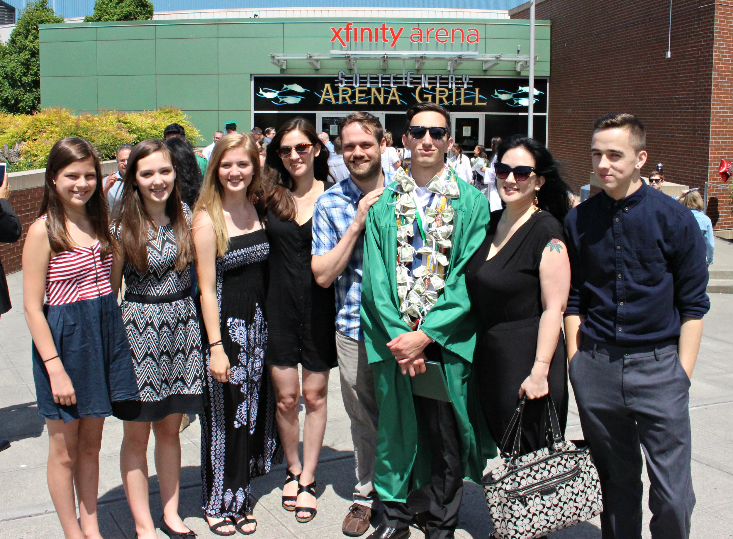 Our entire family right after our oldest son's graduation commencement ceremony.