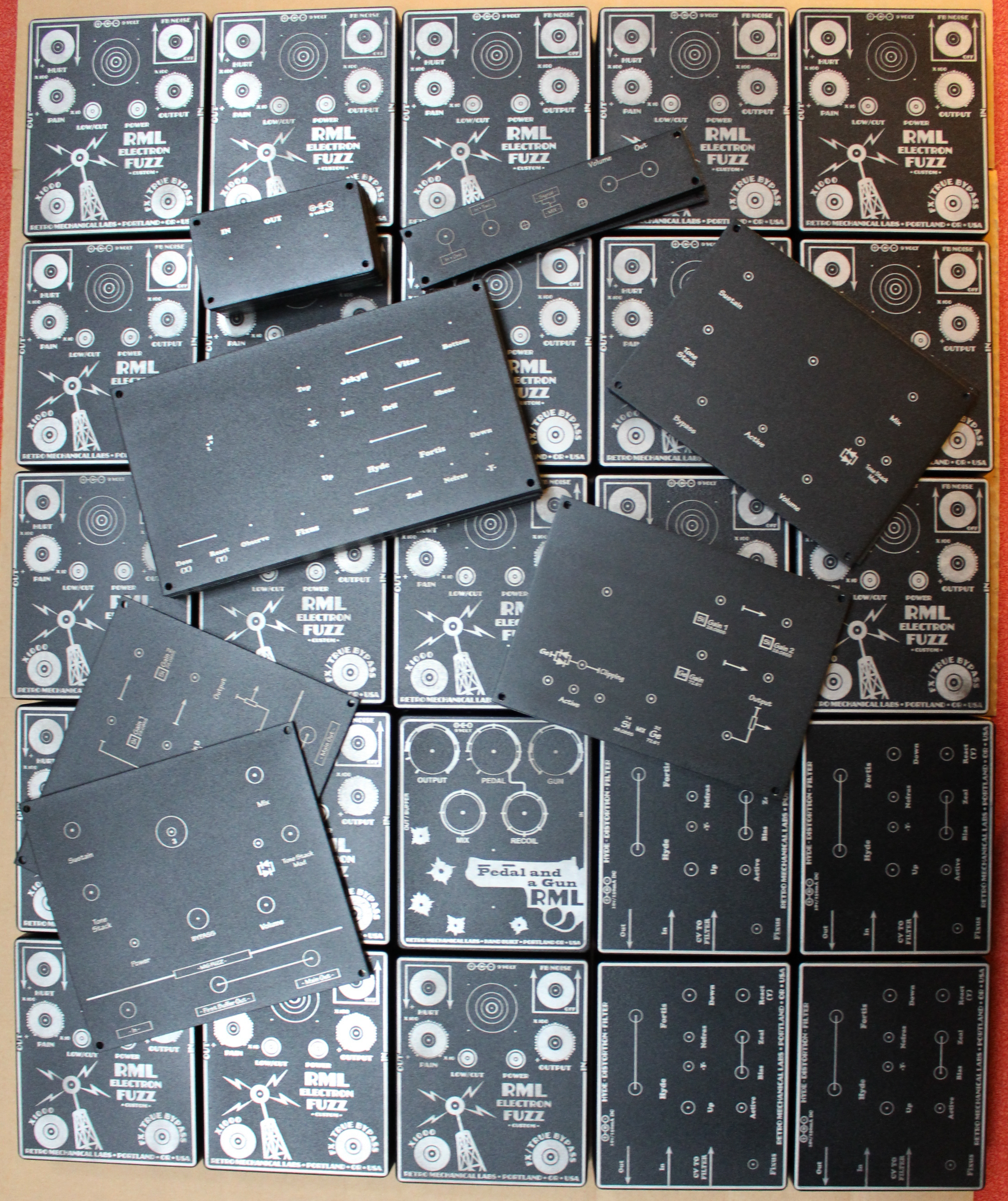An overhead view of freshly engraved distortion boxes and panels for RML.