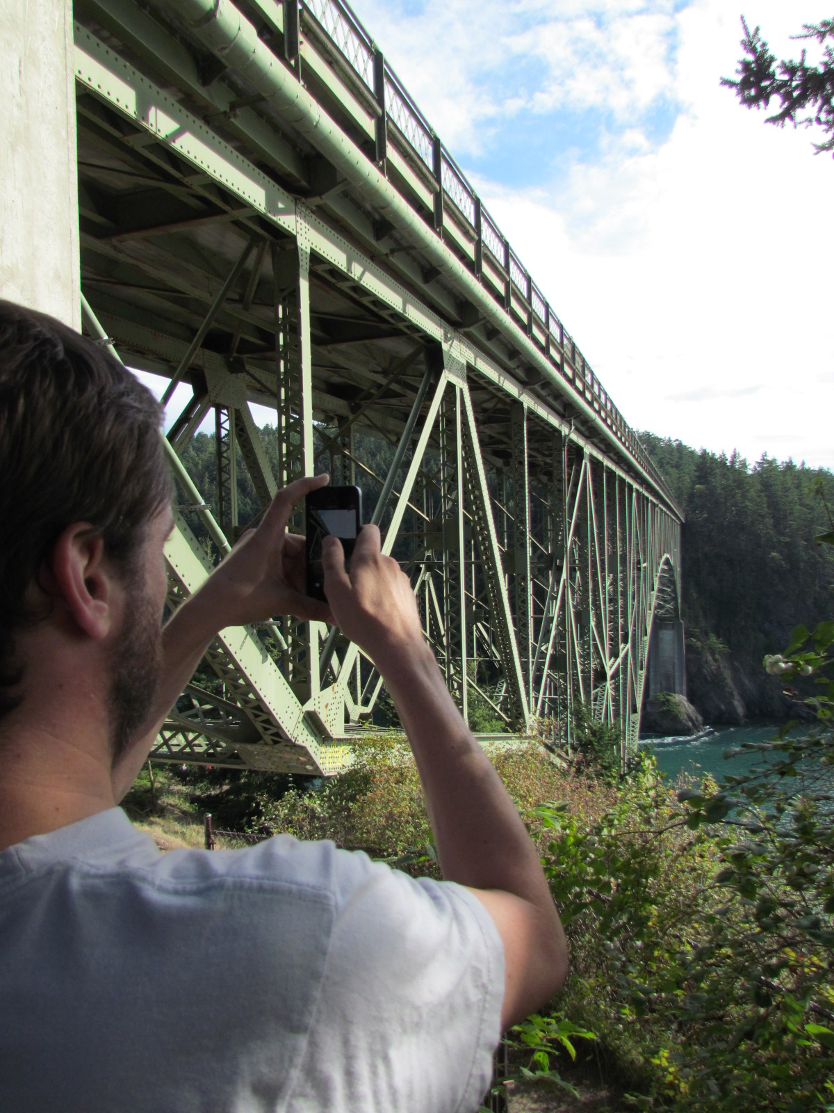 John's first trip to Whidbey Island 2013 - The north side of the Deception Pass Bridge on Fidalgo Island.