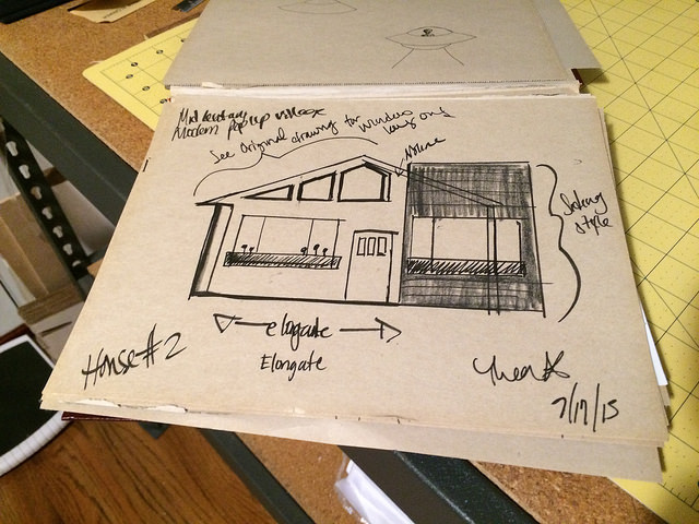 One of the many design phases for the Pop-up Houses. I also can't draw a straight line to save my ass.