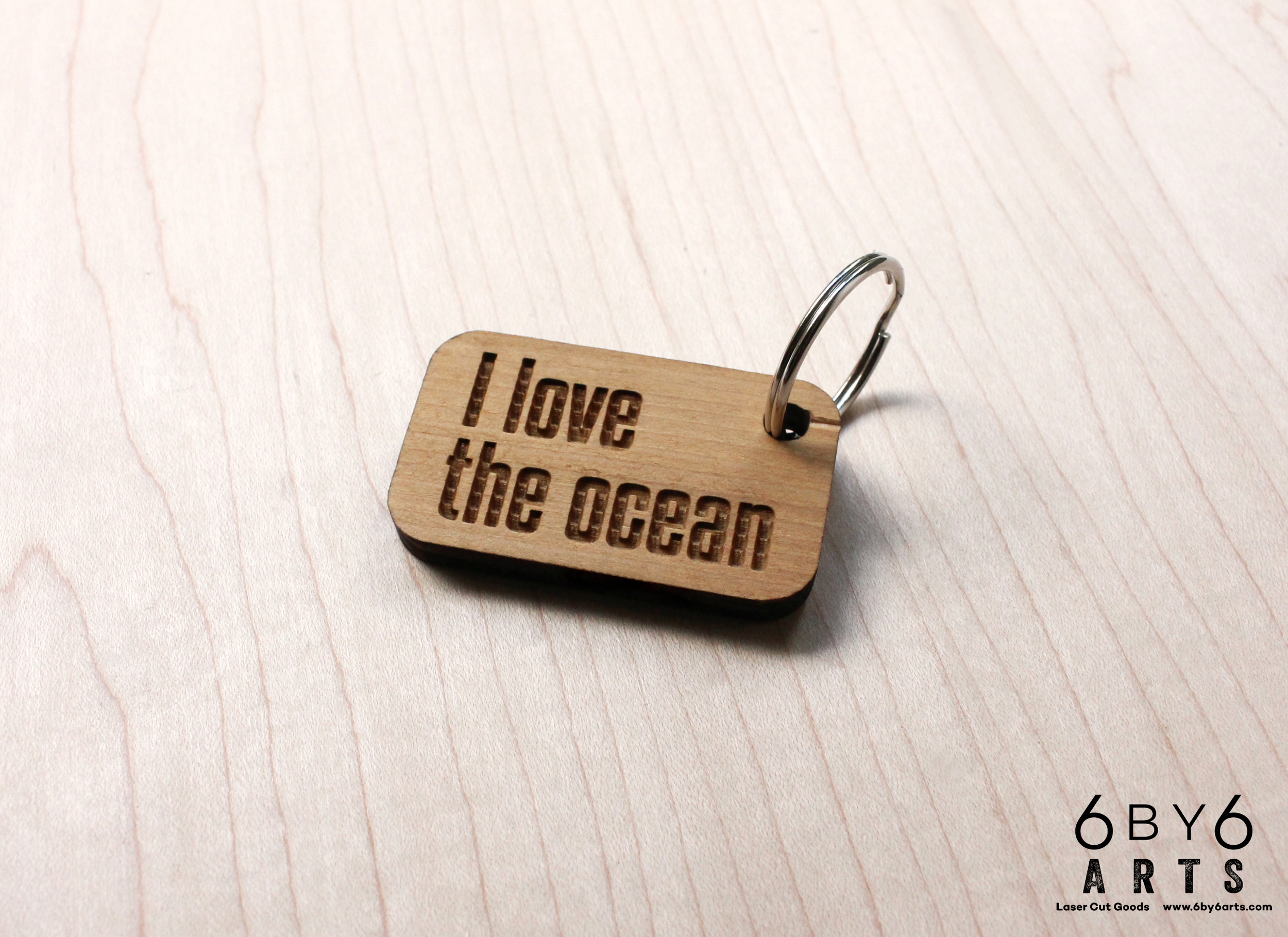 I love the ocean - reclaimed wood keychain for The Marine Mammal Center