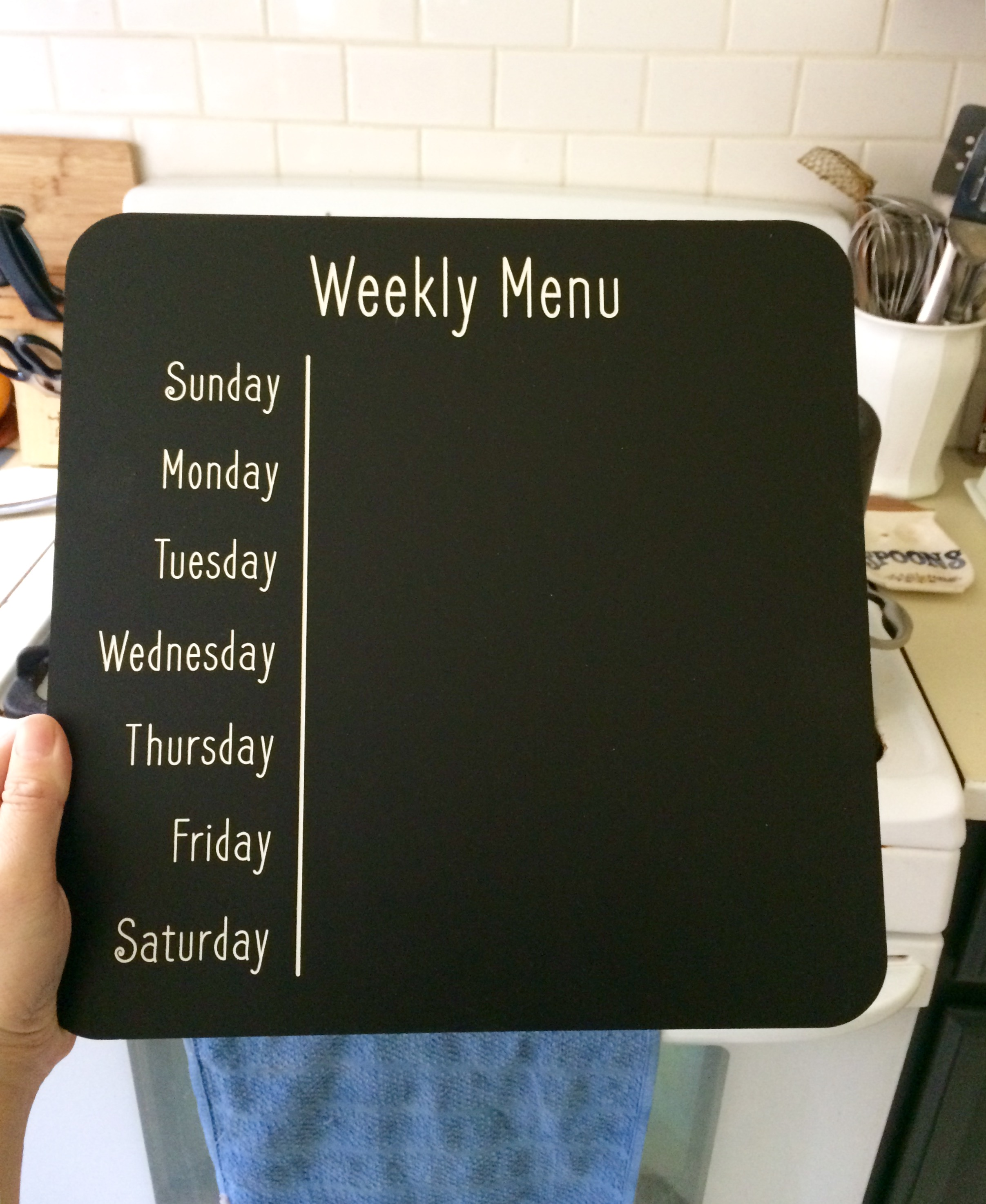 6 by 6 Arts | Weekly Menu Chalkboard