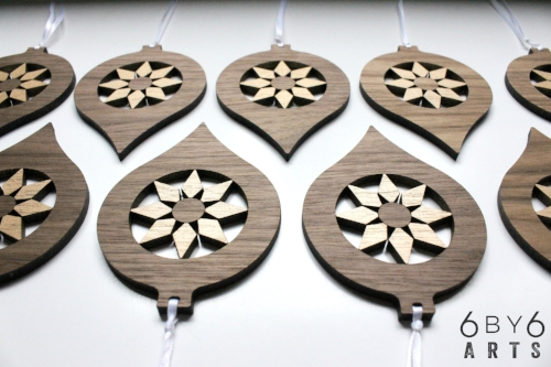 Mid Century Modern Style Walnut Wood Ornaments