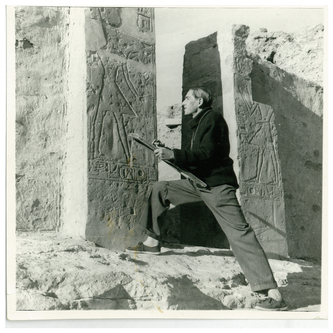 Greener as Egyptological artist at the tomb of Ramses II (Courtesy of the National Library of Australia)