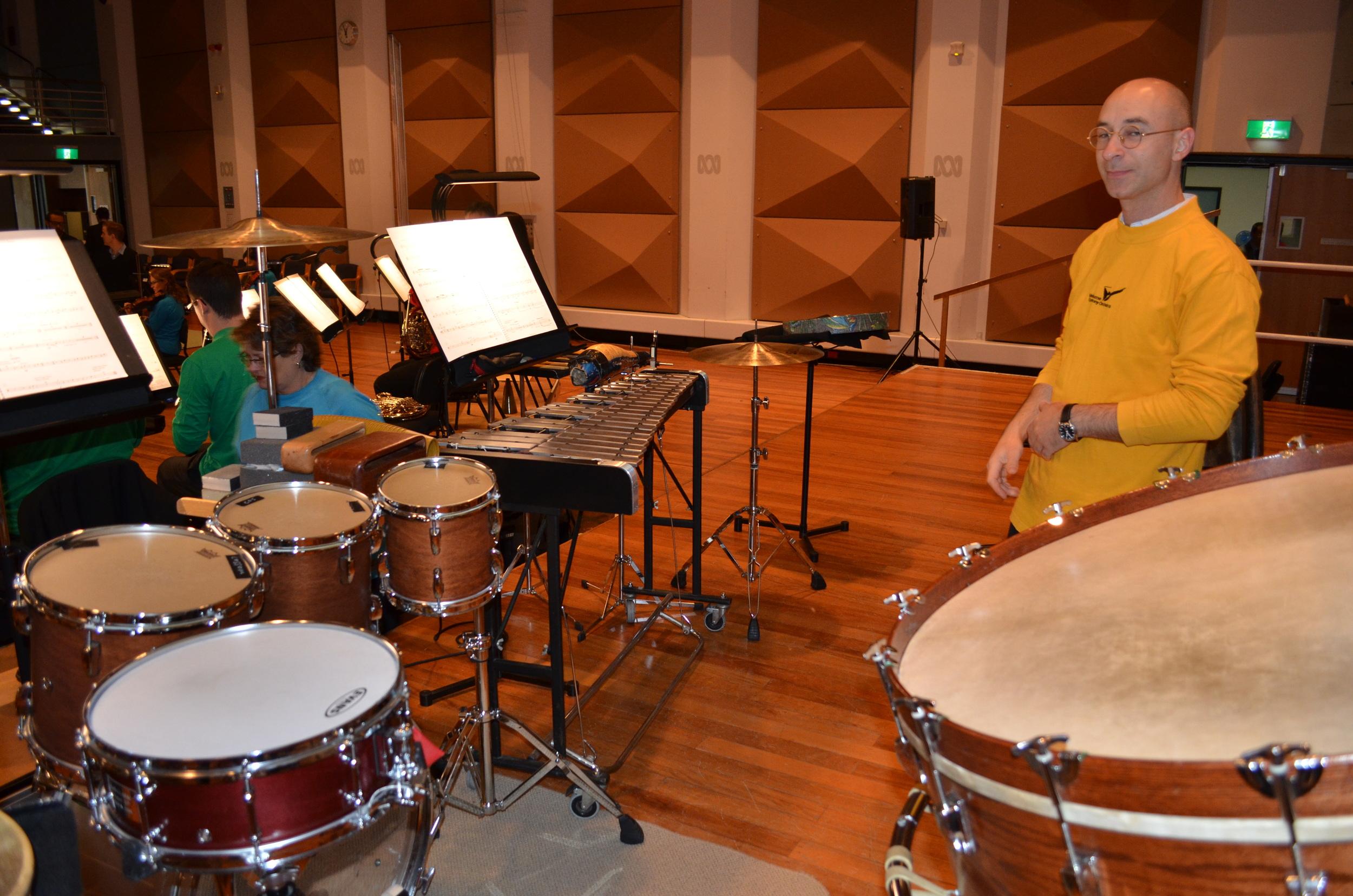 John Arcaro,MSO percussionist, with percussion setup