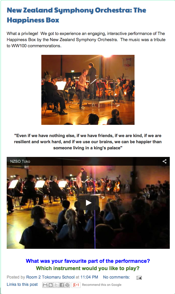 Mrs Bizzy's Class Blog demonstrateshow magnificentlythe young audiencelistened and participated, thanks to some fancy footwork from cole jenkins and fabulous music makingby conductor hamish mckeichand the nzso.