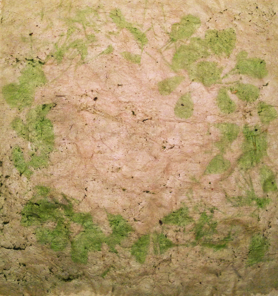 Spinach emulsion on handmade paper