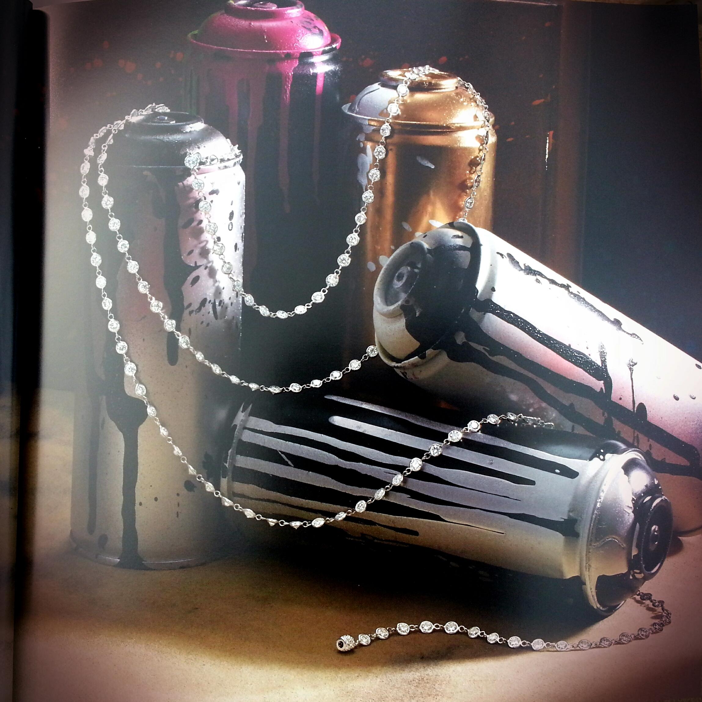 Diamond Chain Necklace set with 144 Round Brilliant Cut Diamonds - 46.50 ctw. Artwork, spraycans by Scape.