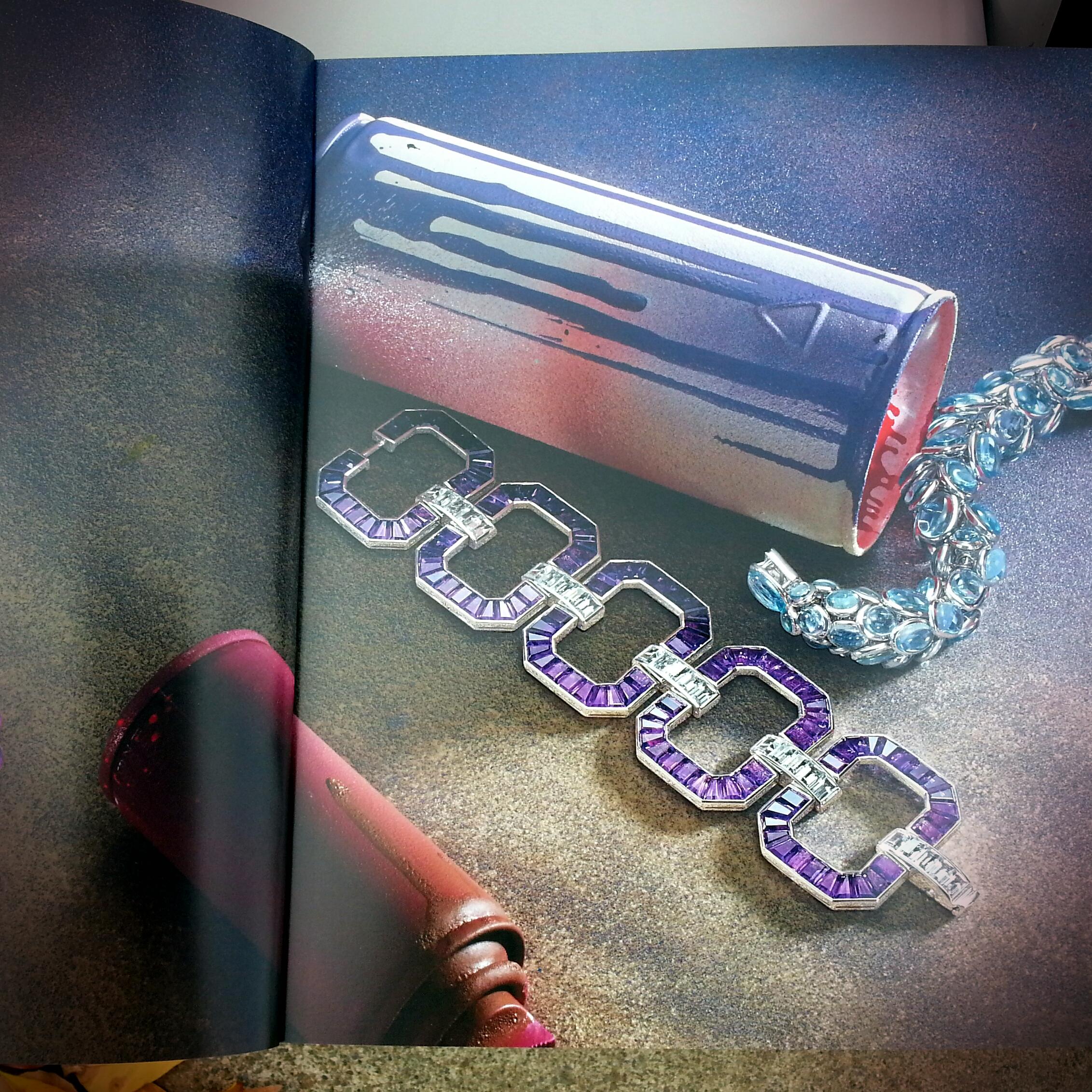 Amethyst and Aquamarine Art Deco Style Bracelet - 80 ctw.
