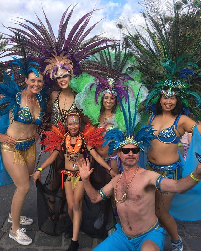 Moomba. Melbourne Caribbean Carnival. We're just about to head down the street. Never felt so white. That's Tam Rewes on stage right.