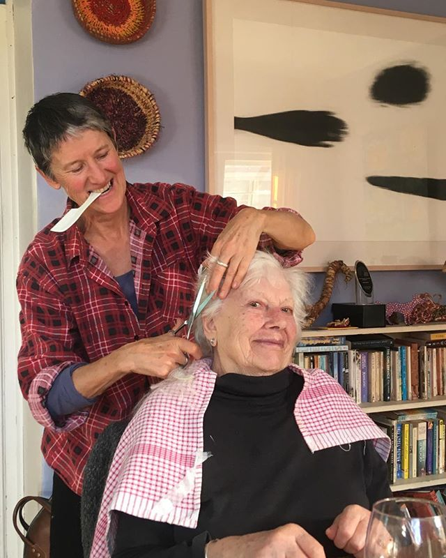 Sue cutting my Mum's hair after an only slightly debauched lunch.