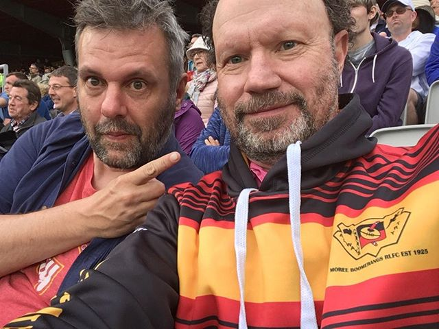 At Old Trafford yesterday, with my dear friend Tassos Stephens, two wickets away from winning The Ashes. Hilarious, tense, epic day. The Moree Boomerangs hoodie was the difference between the two teams. True! Go Boomies!