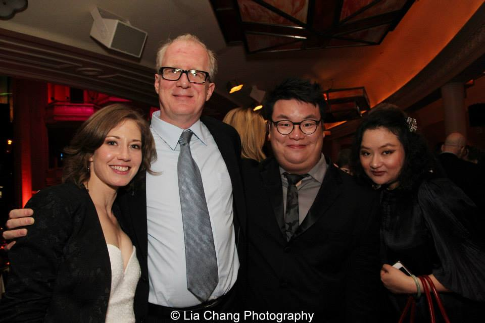 At the Drama Desk After Party with Carrie Coon, Tracy Letts and Emily Luo. (2013)  photo: Lia Chang