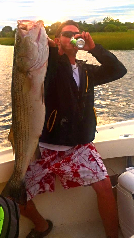 """Big 40# bass -- The longest of the season at 52"""" caught live lining a monster mackerel"""