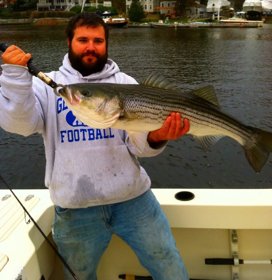 Last striper of the year! A 35 inch bass on top water almost exactly where I caught my first of the year!