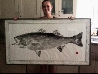 Maddie andher 42# striper caught on Manolin Charters!                                                    Print by Joe at Fished Impressions!Check him out!