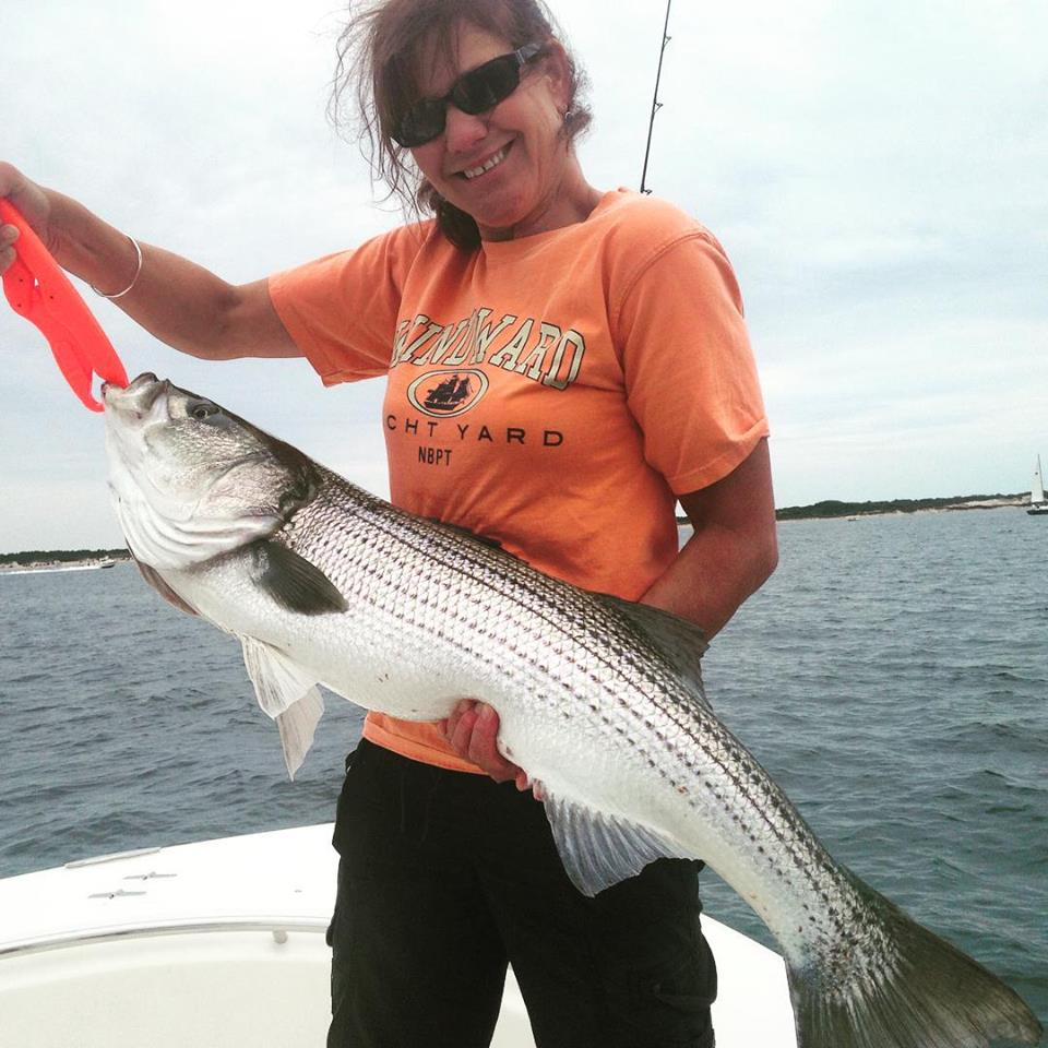 Mary fired off a cast with a small metal under some busting birds and nailed this 40 incher!