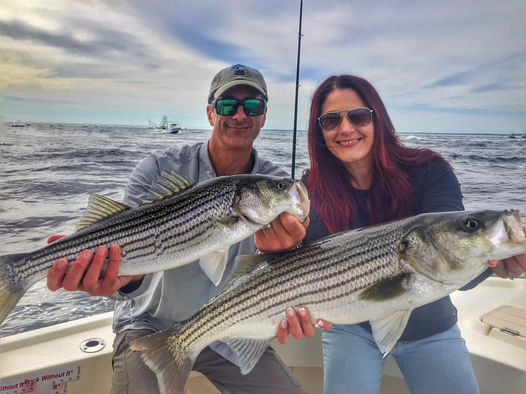 Tim and Kerri with 2 of their 20 fish. Four of them were keepers. These two celebrating their anniversary on Manolin Charters!